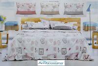 AMBROSIANA Quick. Completo letto, Lenzuola 100% Cotone - POSTCARD. Made in Italy