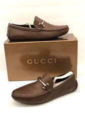 $600 Gucci Driving Shoes Brown Leather Horse-bit Loafer Mens Sz 8 italy / 9 us