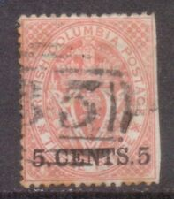 """CANADA 1869  BRITISH COLUMBIA  stamp SURCHARGE  """"5. CENTS. 5""""  POSTMARK """"35"""""""