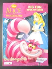 "Disney BIG FUN Book To Color ""ALICE IN WONDERLAND"" Tear & Share Pages New!"