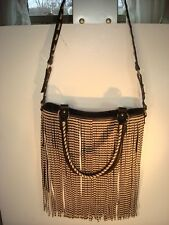 e2a9df56c73 Steve Madden Black & Tan Cross Body Hobo Shoulder Bag with Fringe Faux  Leather