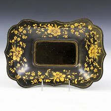 "13 3/4"" Antique Victorian Painted Gold Floral Black Metal Tole Toleware Tray JTM"