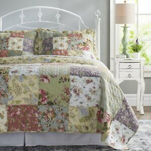 NEW! ~ COZY CHIC SHABBY VINTAGE PURPLE LILAC RED PINK ROSE GREEN SOFT QUILT SET