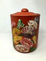 Vintage Ransburg Genuine Hand Painted Stoneware Pottery Red Floral Cookie Jar
