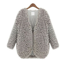 Women Fluffy Shaggy Faux Fur Cardigan Slim Jacket Parka Coat Winter Warm Outwear