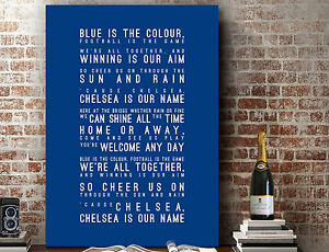 Chelsea FC Blue is the Colour | Poster Wall Art SONG LYRICS PRINT | CANVAS GIFT