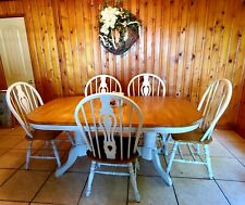 A-America Oval Double Pedestal Dining Table chairs Buttermilk Oak Farmhouse 70""