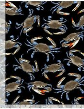 Blue Crabs on Black B/G-Timeless Treasures-BTY
