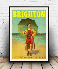 Brighton , Vintage seaside Travel advertising poster reproduction.