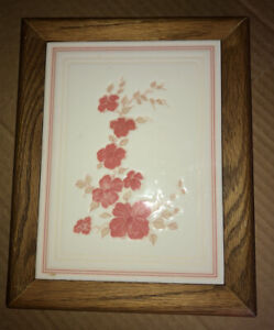 """Hand Crafted Trivet Made in Spain 8"""" x 10"""" - Rose Colored Flowers - Beautiful"""