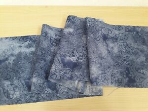 """New  Remnant 100% Cotton Fabric Blue/White Batik  Design - W 44"""" x L 6"""""""