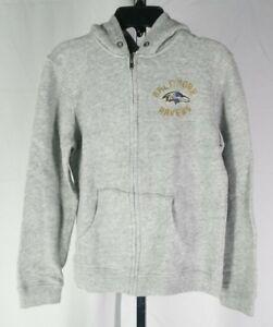 Baltimore Ravens Zip Up Hoodie Jacket XXL Youth Grey by Junk Food T3