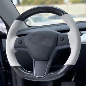 Carbon fiber white leather DIY Steering Wheel Cover for Tesla Model 3