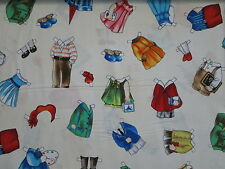 PAPER DOLLS OUTFITS GIRLS BOYS WHITE FABRIC FQ OOP