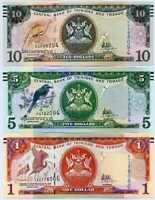 TRINIDAD & TOBAGO SET 3 UNC 1 5 10 DOLLARS 2006 / 2018 P 46A 47 57 NEW SIGN