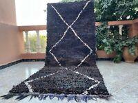 "Vintage Moroccan handmade Rug 3'2""x7'6"" Bohemian Berber Back and blue"