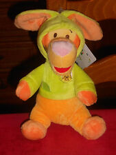 Doudou Tigrou déguisé lapin vert Orange Capuche Winnie Disney Neuf