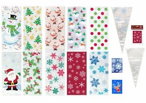 CHRISTMAS CELLO BAGS Xmas Cellophane Gift Party Frozen Treat Cone Kids Sweets