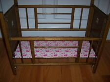 """VINTAGE WOOD HANDCRAFTED DOLL CRIB FOR PRE SCHOOLER 24"""" COLLECTIBLE"""