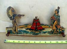 Vintage Native American Indian Kitch 1950's Wooden Lithograph Towel Jewlery Rack