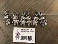 Brighton Teddy Charm Silver/Clear Stone