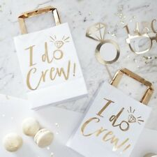 White & Gold I Do Crew Party Bags Team Bride Hen Party Favours Goodie Bag - Pk 5