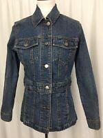 Eddie Bauer Womens Jean Jacket Stretch Fitted Medium Wash Denim Size XS