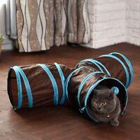 Funny T Shape Nylon Cat Tunnel Toy Three Way Folding Training Pet Accessories S7