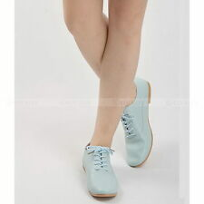 Casual Women Leather Flat Shoes Lady Lace-up Shoes Round Head Oxfords Shoe