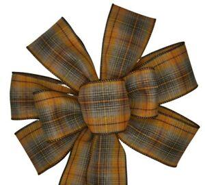 "10"" Hand Made Orange & Brown Fall Plaid Wired Wreath Bow Thanksgiving Autumn"
