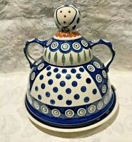 Polish Pottery Large Cheese Lady Server with Plate - New  FREE SHIPPING