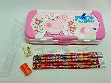 New Kids 3-Tier Pencil Case + 5 Pencils ,Eraser, Rulers, Geometric Set,Sharpener