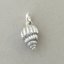 .925 Sterling Silver 3-D Small TULIP SEA SHELL CHARM NEW Beach Pendant 925 NT137