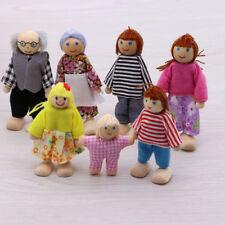 Holz Möbel Puppenhaus Familie Miniatur 7 Leute Puppe Spielzeug für Kinder