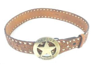 """Vtg Western Belt Leather Embossed 28""""24"""" In Waist Brass Deputy Sheriff Buckle"""