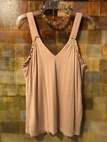Banana Republic Dusty Pink Silk Sleeveless Top W/ Built-In Cami Sz M (8-10) EUC