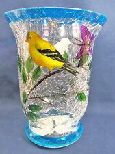 Small Pillar Candle Holder Hand Painted Crackle Glass Home Decor Yellow Bird (A)