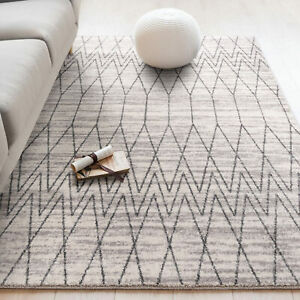Large Floor Rug Beige Soft Plush Diamond Moroccan Geometric Modern Carpet