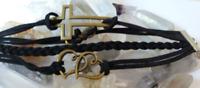 Bracelet cuir argent breloque multi-rangs 180x20x4mm (réglable 18-21cm)