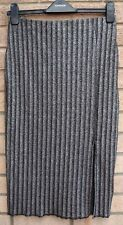H&M SILVER BLACK GLITTER BODYCON SPLIT SIDES TUBE STRIPE PARTY XMAS SKIRT S M