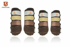 Horsecode Gamaschen 4er Brown glitter&Go Warmblut Braun ,Fesselkopfgamaschen,