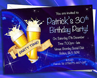 Personalised Birthday Party Invitations 18th 21st 30th etc with white envelopes