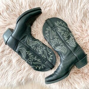 Ariat Black Leather Western Cowboy Square Toe Boots Size 8.5D Women's