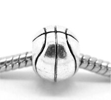 Antiqued Silver Basketball 11mm Round Large 5mm Hole European Charm Bead 1pc
