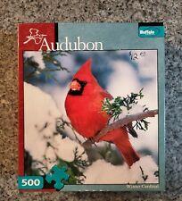 "Audubon 500 piece puzzle ""Winter Cardinal"" Buffalo Games COMPLETE"