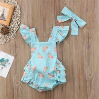 NWT Baby Girl Flamingo Blue Ruffle Romper Bodysuit Jumpsuit Headband Outfit Set