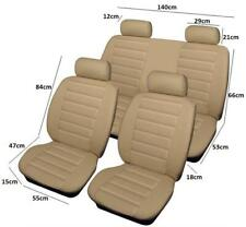 Airbag Safe Full Set Of Leather Look Car Seat Covers / Protectors Beige Colour