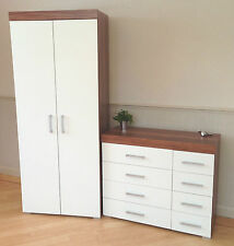 2 Door Wardrobe & 4+4 Chest of Drawers in White & Walnut Bedroom Furniture 8 NEW