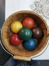 1940's Set of Six Painted Wooden Croquet Balls