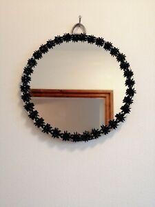 "Hand Embellished 6"" Diameter Round Spider Wall Hanging Mirror Goth Home Decor"